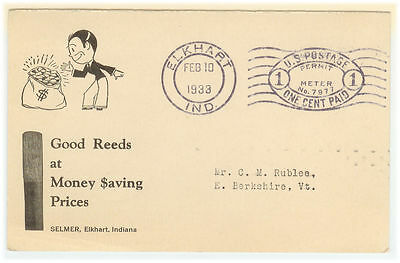 United States cover - 1933 Elkhart to Berkshire (VT) - Advertising cover - XF