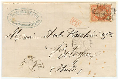 France cover - Napoleon III - 1870 Paris to Bologna (IT) - XF