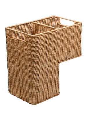 Wicker Handwoven Stair Step Basket, 2 Compartments