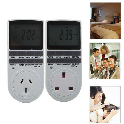 120V AU Home LCD Programmable Digital Timer Switch Socket Outlet 12/24 Hour 7Day