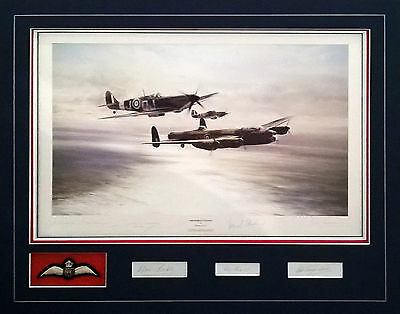 Memorial Flight by Robert Taylor Framed Lancaster Spitfire RAF Veteran Signed