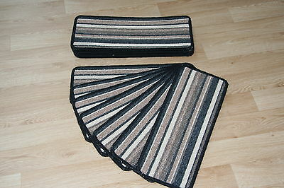 14 Striped Open Plan Carpet Stair Treads Bolero Black / Brown 14 Large Pads!