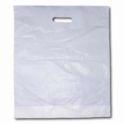 """1000 x Strong White 'Patch' Handle Party Plastic Carrier Bags - 15 """"x 18""""+ 3"""""""