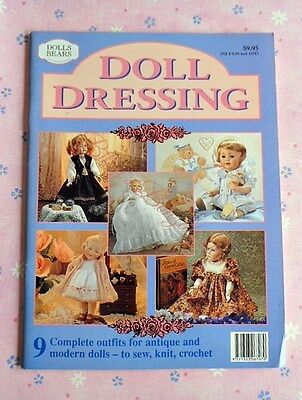 DOLL  DRESSING - 9 Complete Outfits - to Sew, Knit, Crochet - 1996  SC