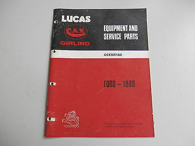 LUCAS Parts List for FORD cars and commercials 1968