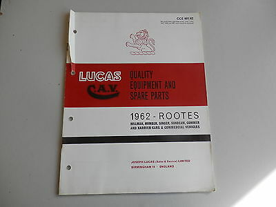 LUCAS Parts List for 1962 HILLMAN HUMBER SINGER SUNBEAM COMMER KARRIER