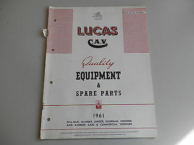 LUCAS Parts List for 1961 HILLMAN HUMBER SINGER SUNBEAM COMMER KARRIER