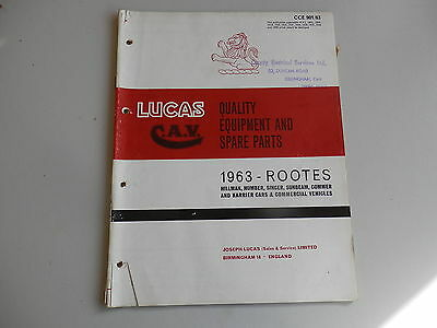 LUCAS Parts List 1963 HILLMAN HUMBER SINGER SUNBEAM COMMER KARRIER + supplement