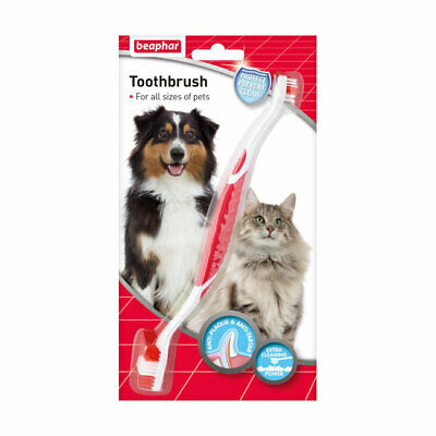 Beaphar Toothbrush Double Ended Two Bristle Heads for Small and Large Dogs
