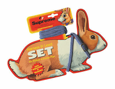 Supreme Rabbit Harness and Lead Set Adjustable Nylon Guinea Pigs 3 Colours