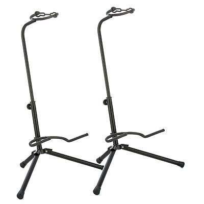 2x SUPPORT TREPIED STAND DE GUITAR BASS BANJO ACOUSTIQUE ELECTRONIQUE AJUSTABLE