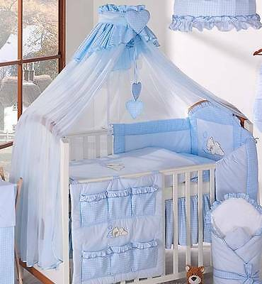 LUXURY BABY CANOPY / DRAPE 480cm WIDTH + HOLDER Fit COT / COT BED - Blue