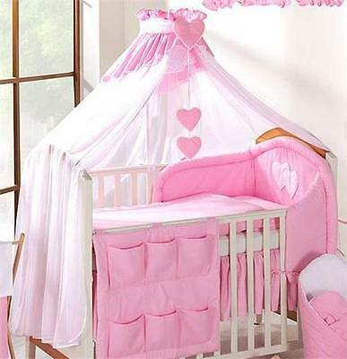 LUXURY BABY CANOPY /DRAPE 480cm WIDTH + HOLDER Fit COT /COT BED - White/Pink