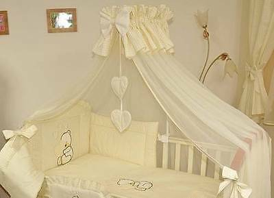 LUXURY BABY COT BED CANOPY DRAPE + HOLDER 480cm FULL WIDTH - CREAM HEARTS