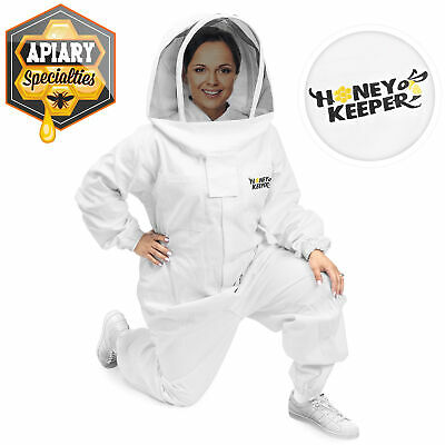 Professional Cotton Full Body Beekeeping Suit w/ Supporting Veil Hood - Large