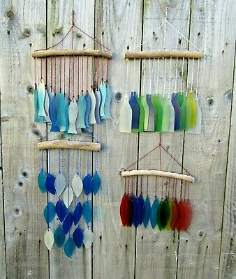 Fair Trade Hand Made Glass Garden Wall Art Fish Wind Chime Mobile Windchime