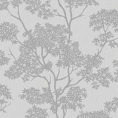Aspen Grey and Silver Trees Wallpaper Glitter Luxury Textured Vinyl FD40978