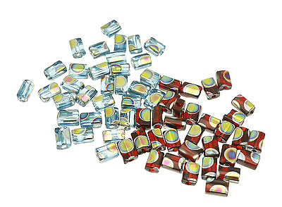 75 Czech Glass Rectangle Beads with Peacock finish size 5x3.5mm