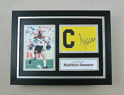 Matthias Sammer Signed A4 Photo Framed Captain Armband Germany Autograph Display