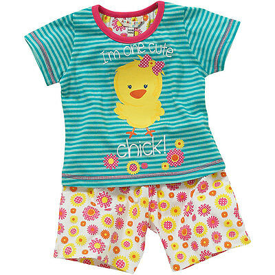 Lullaby Toddler Girls Cute Chick Striped Floral Shortie Summer Pyjamas 6-23mths