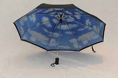 New Umbrella Compact Automatic Sturdy Travel Black with Blue Sky / White Clouds