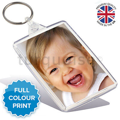 Personalised Custom Photo Gift Keyring Key Fob 70 x 45 mm | Large Size