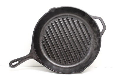 Vintage Cast Iron Frying Pan NEW - NOS Lodge Ribbed Grill Pan, 11""