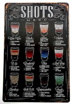 SHOTS (COCKTAIL) METAL TIN PLATE SIGN vintage cafe pub funny retro kitchen uk