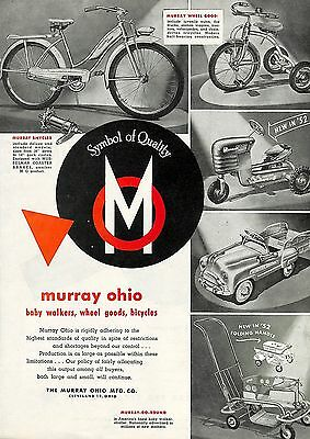 1952 Murray Bicycle & Tricycle & Pedal Car & Pedal Tractor & Stroller Ad