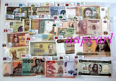 Lots 50pcs 30 countries World banknotes with logo flags Collections Uncirculated