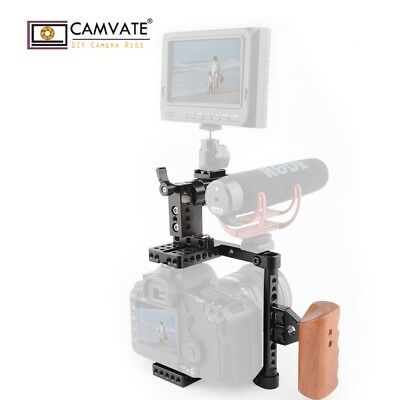CAMVATE Right Side DSLR Camera Cage Rig W/Wood Grip for Canon 650D GH5/GH4 750D
