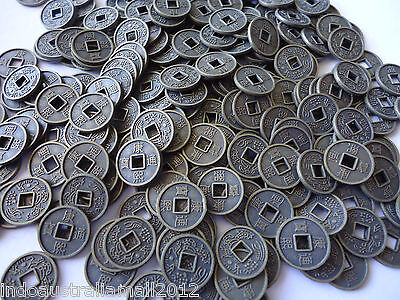 100 PCS Small Antique Bronze Plated Alloy Chinese Fortune Coins 10mm(M018)