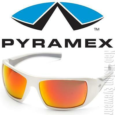 Pyramex Goliath White Red Mirror Lenses Safety Glasses Sunglasses Z87+