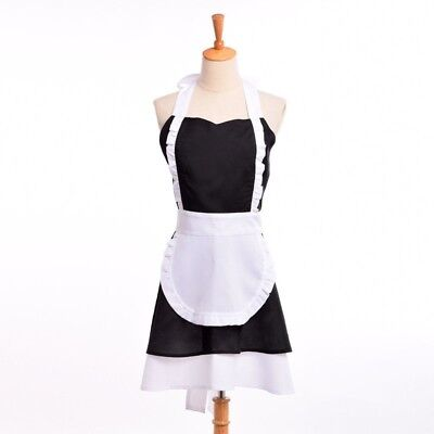 Woman Maid Waitress Apron Vintage French Ruffle Pinafore Coffee Shop Homewear