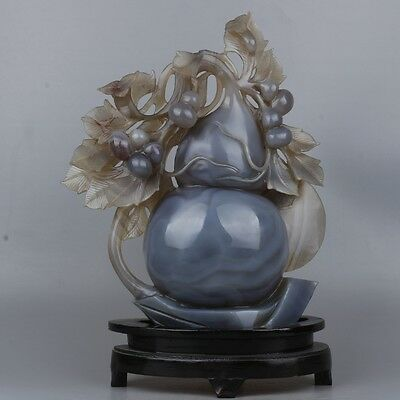 Fine Chinese natural agate carving gourd-shaped statue