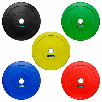 JLL® Coloured Olympic Bumper Weight Lifting Plates - 5kg 10kg 15kg 20kg 25kg
