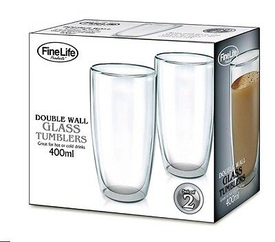 Double Wall Glass Tumbler Set of 2 of 400mls Drinking Glasses coffee tea Water
