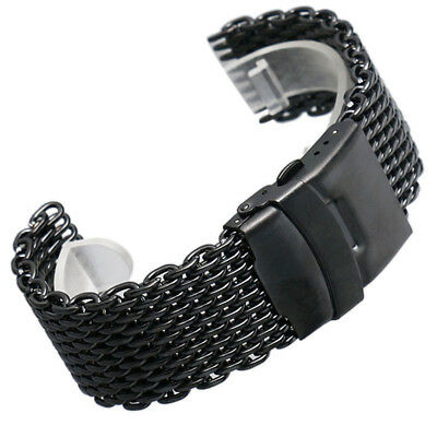 Fashion Black/Gold Mens Watch Strap Band 18/20/22/24mm Mesh Web Stainless Steel
