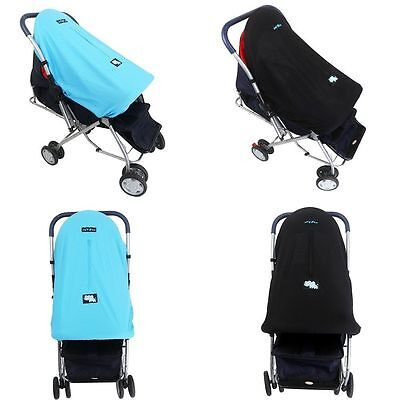 Baby Stroller Pram Mosquito Net Sun Shade Pushchair Buggy Wind Shield Cover Blue