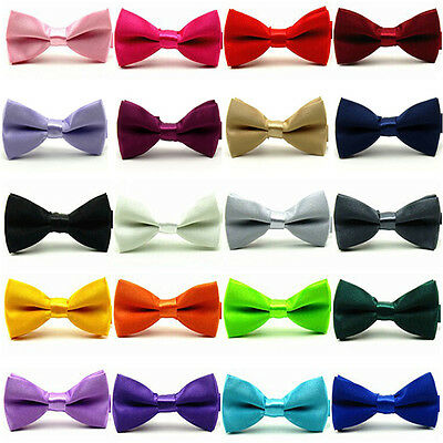 Baby Boy Kid Solid Color Satin Children Wedding Tuxedo Bowties Bow Tie Necktie