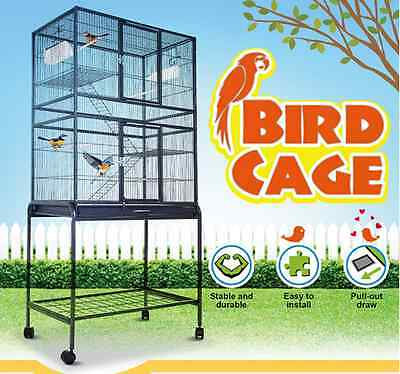 Large Stand-Alone Bird Cage on Wheels Wrought Iron 80cm x 47cm x 155cm