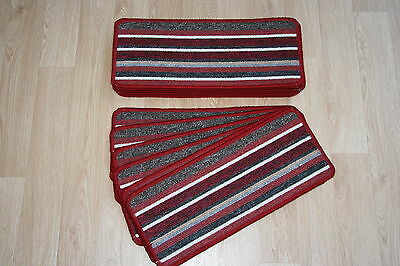 14 Red Striped Open Plan Carpet Stair Treads Broadway Red Pads! 14 Large Pads!
