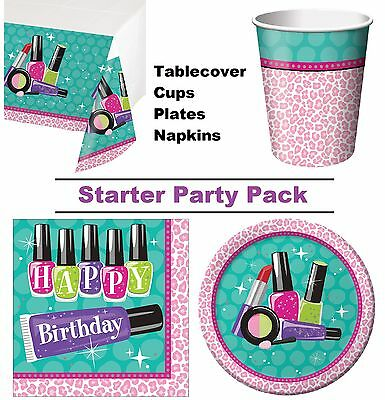 Sparkle Spa | Make Up | 8-48 Guest Starter Party Pack - Cups | Plates | Napkins