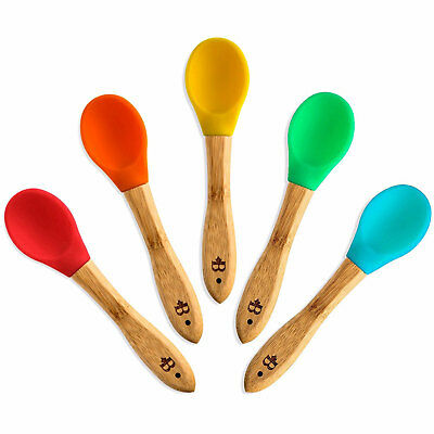Belmint 100% Natural Bamboo Spoons with Flexible BPA-Free Silicone Tips