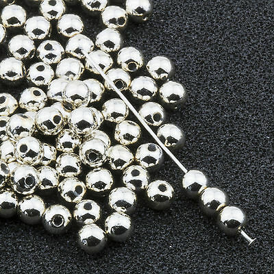 4mm Silver Acrylic Round Faux Pearl Beads Vintage Japanese 120pcs 10304011