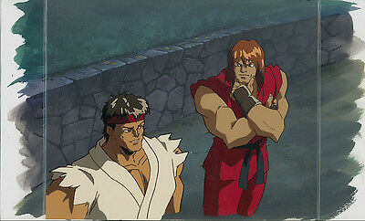 Street Fighter Anime Cel Animation Art Ken Ryu Background Layout Key Set-up!