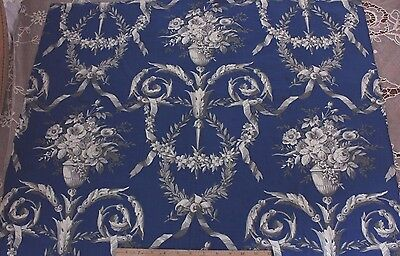 French Antique Victorian c1880 Floral & Ribbon Indigo Fabric Textile~Home Dec
