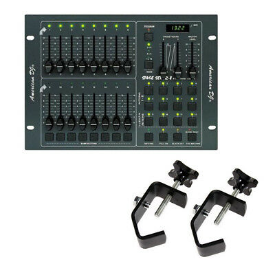 American DJ STAGE SETTER-8 8 Channel DMX Lighting Dimmer Board with 2 Clamps