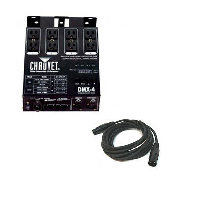 Chauvet DJ DMX-4 4-Channel Switch Pack DMX-512 Dimmer with 15-Foot DMX Cable