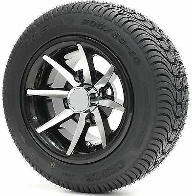 "Golf Cart 10"" Mach/Black ""CLASSIC"" Wheels and 205/50-10 DOT Low Profile Tires -4"